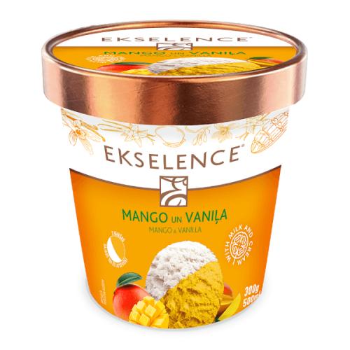 EKSELENCE mango sorbets un vaniļas saldējums, 500ml/300g